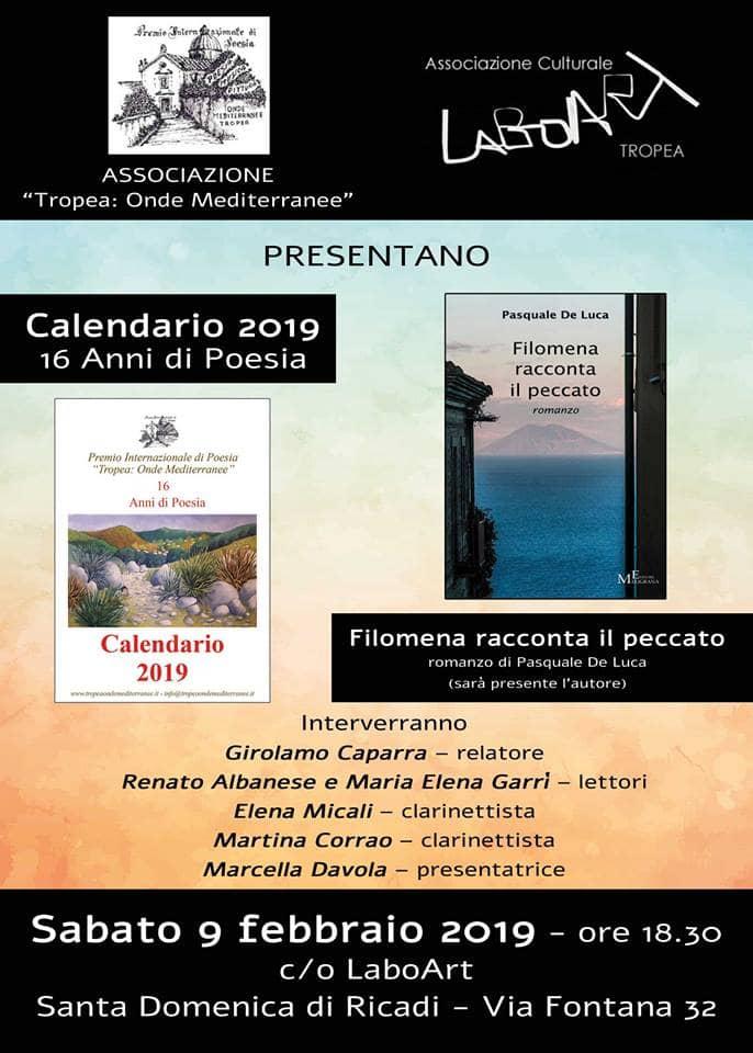 Tropea Onde Mediterranee presentazione Calendario 2019 16 anni di Poesia