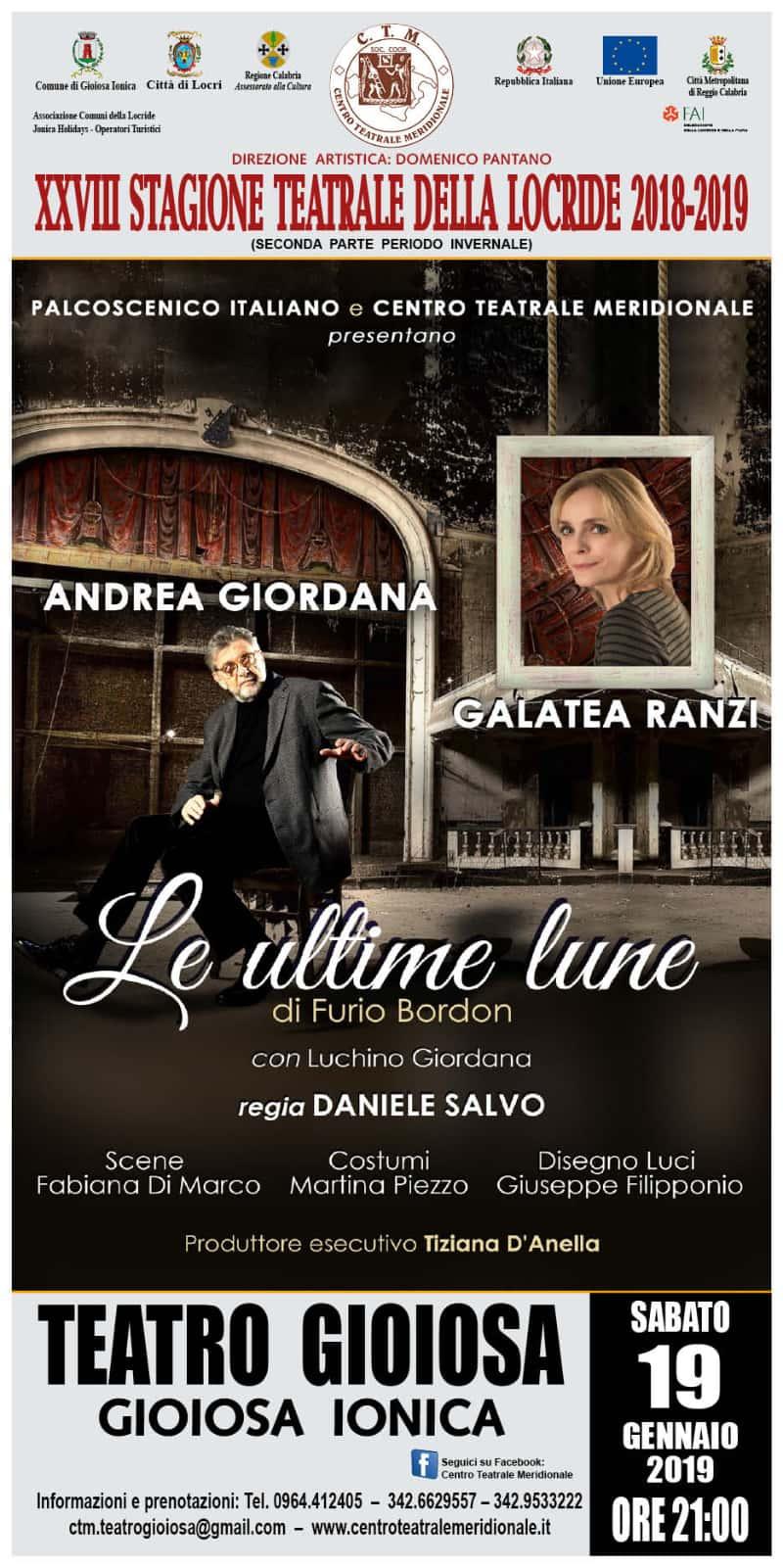 Andrea Giordana e Galatea Renzi 19 gennaio 2019 Gioiosa Ionica locandina