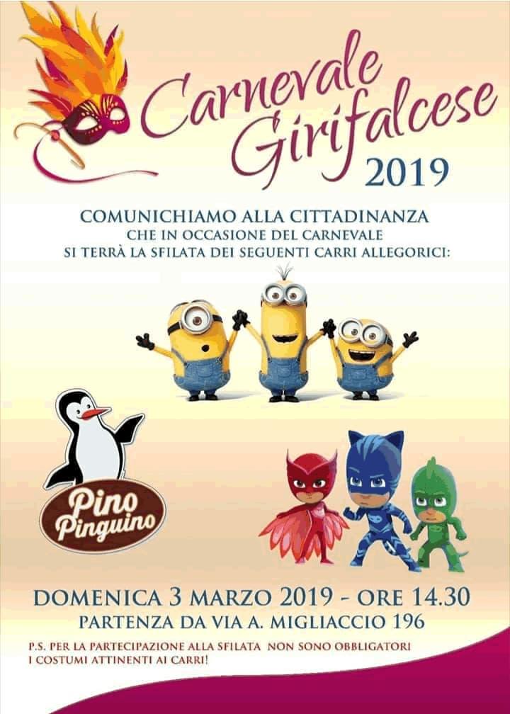 Carnevale Girifalcese 2019 a Girifalco 3 marzo 2019 locandina