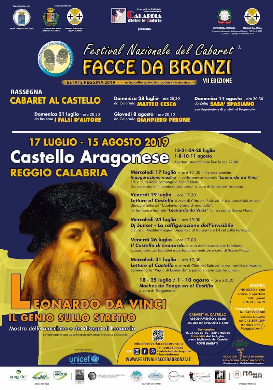 Festival Nazionale del cabaret Facce da bronzi – VII edizione dal 17 luglio al 15 agosto 2019 locandina