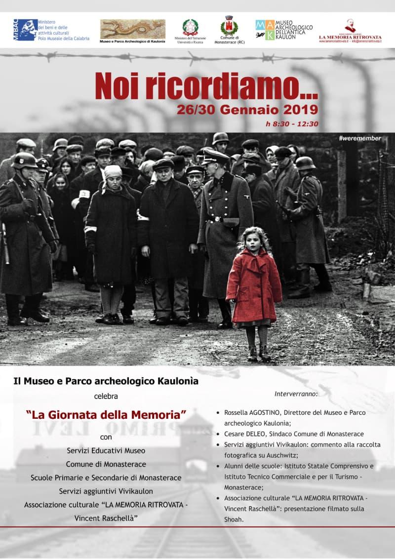Giornata della memoria Noi ricordiamo... dal 26 al 30 gennaio 2019 a Monasterace locandina