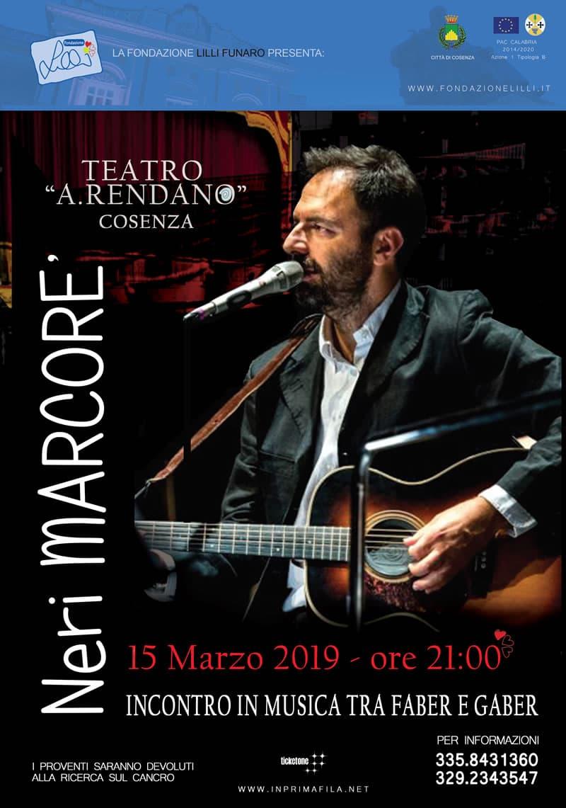 Neri Marcore 15 marzo 2019 al Teatro Rendano di Cosenza locandina