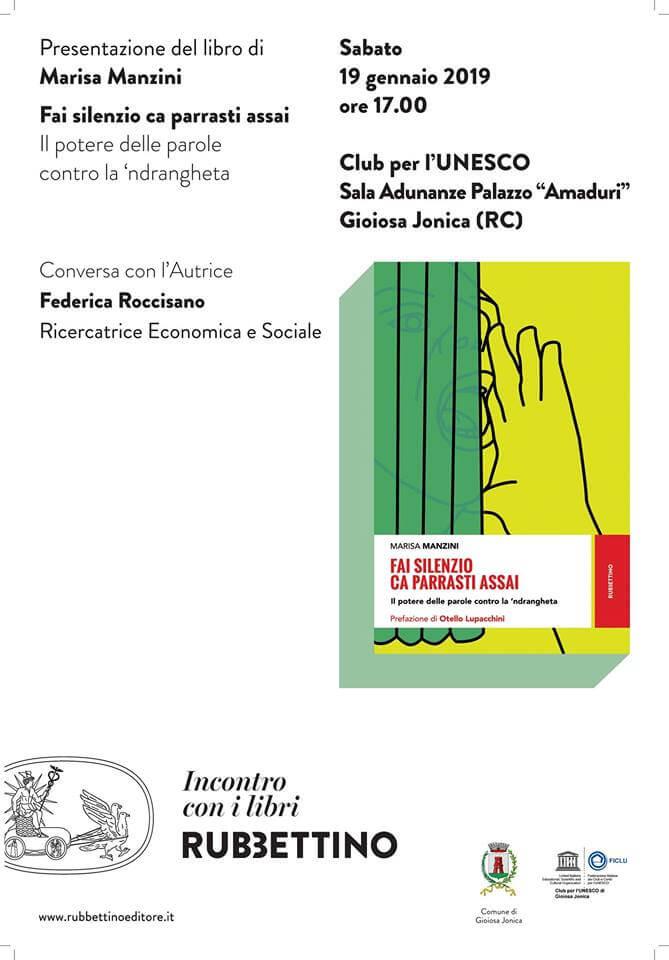 Presentazione libro Fai silenzio ca parrasti assai 19 gennaio 2019 a Gioiosa Ionica locandina