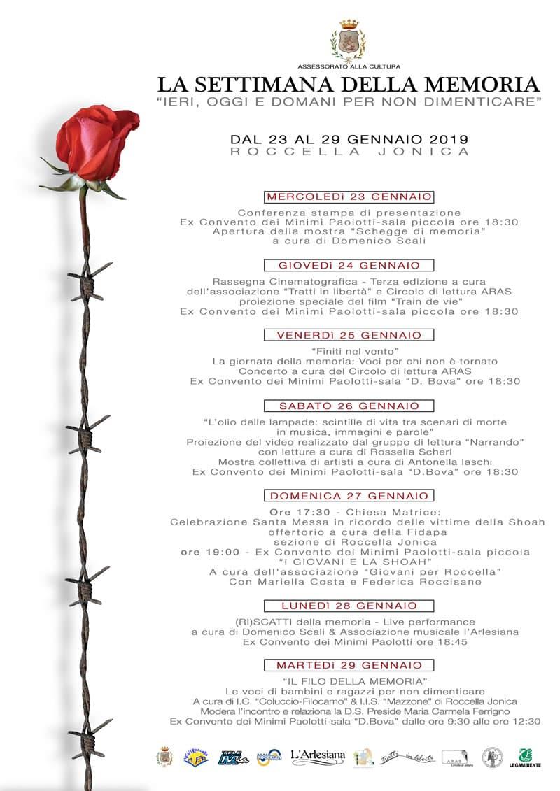 Programma Settimana della Memoria 23-29 gennaio Roccella