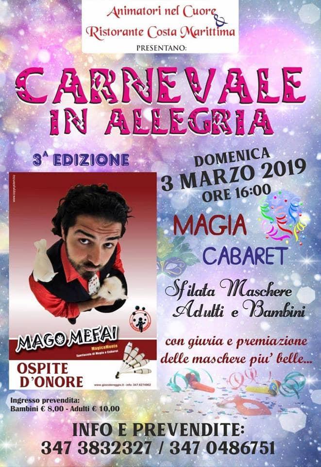Carnevale in allegria 2019 al Costa Marittima di Ciaramiti locandina