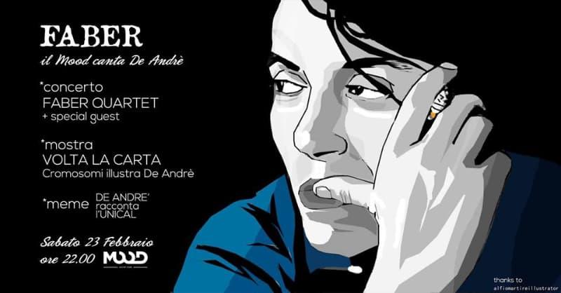 FABER il Mood canta De Andrè Concerto + Mostra 23 febbraio 2019 a Rende