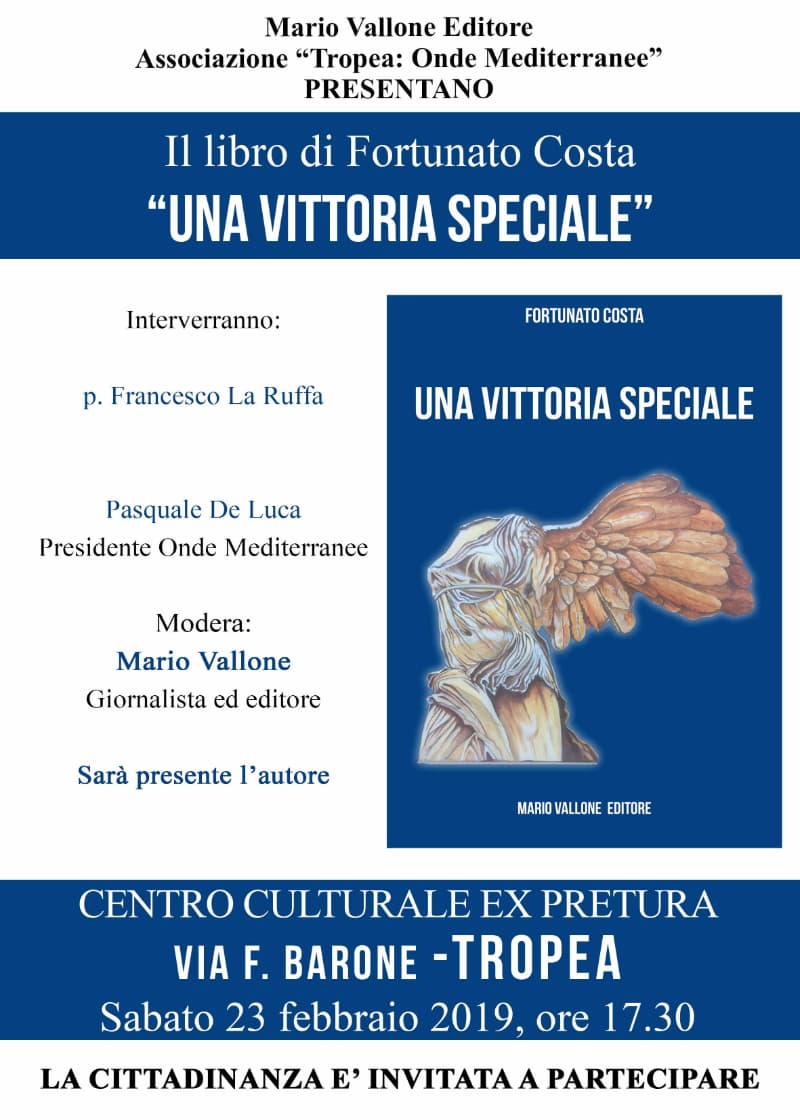 Libro Una vittoria speciale di Fortunato Costa 23 febbraio 2019 a Tropea
