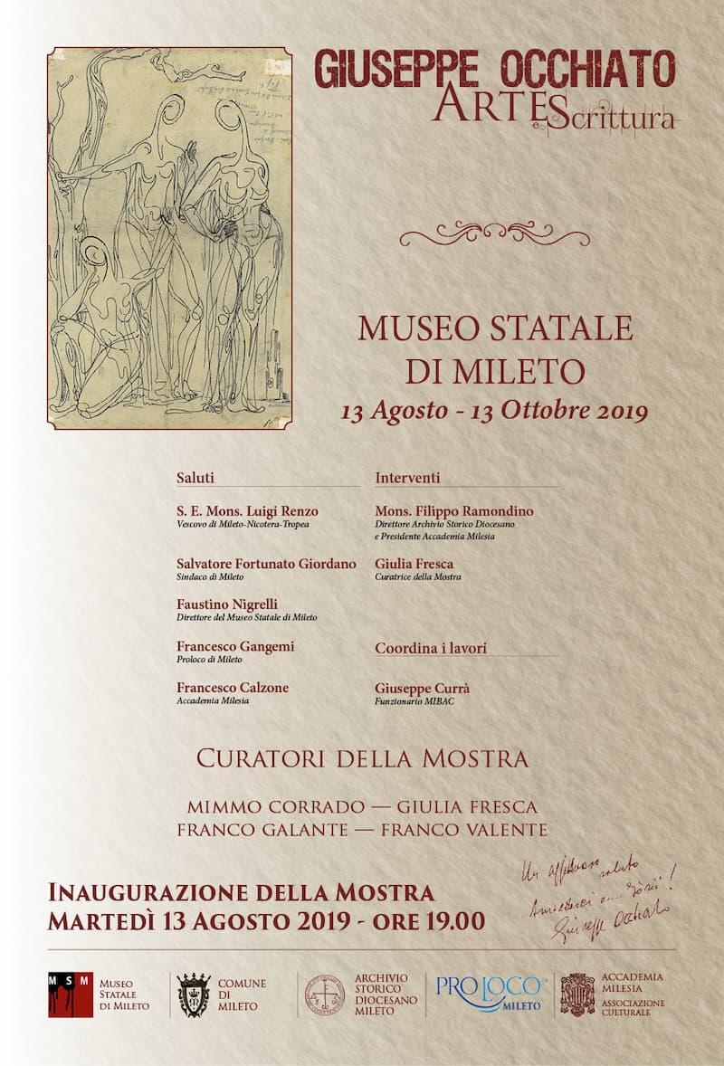 Mostra Giuseppe Occhiato Arte e scrittura dal 13 agosto al 13 ottobre 2019 a Mileto locandina