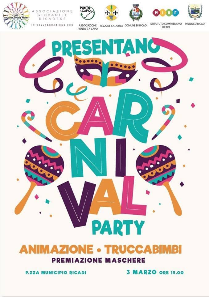 Primo Carnival Party AGR 3 marzo 2019 a Ricadi locandina