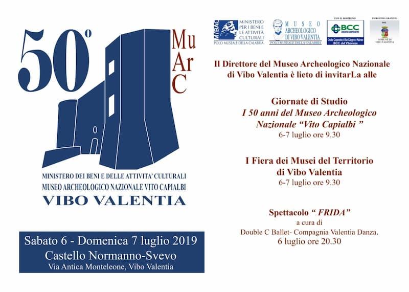 50° anniversario Museo Archeologico Nazionale di Vibo Valentia 6 e 7 Luglio 2019 locandina
