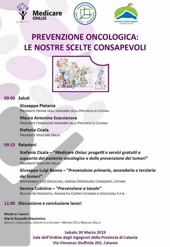 Catania prevenzione Oncologica, le nostre scelte consapevoli 30 marzo 2019 locandina