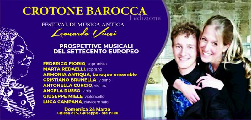 Crotone Barocca ospita il Sopranista Federico Fiorio e il Soprano Marta Redaelli 24 marzo 2019
