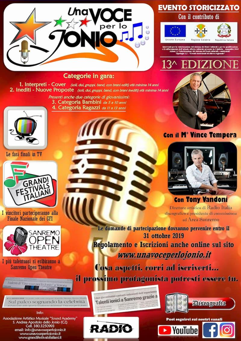 Festival Una Voce per lo Jonio 2019 locandina