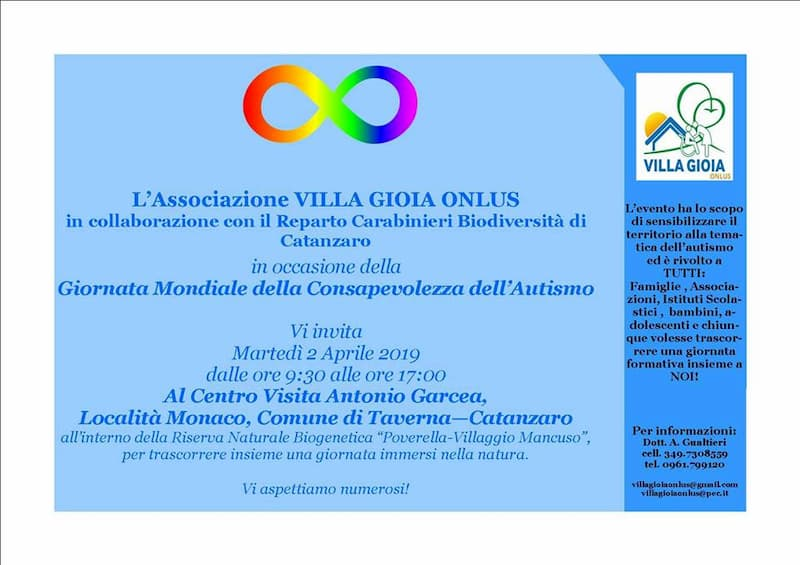 Giornata Mondiale della Consapevolezza dell'Autismo 2 aprile 2019 a Taverna locandina