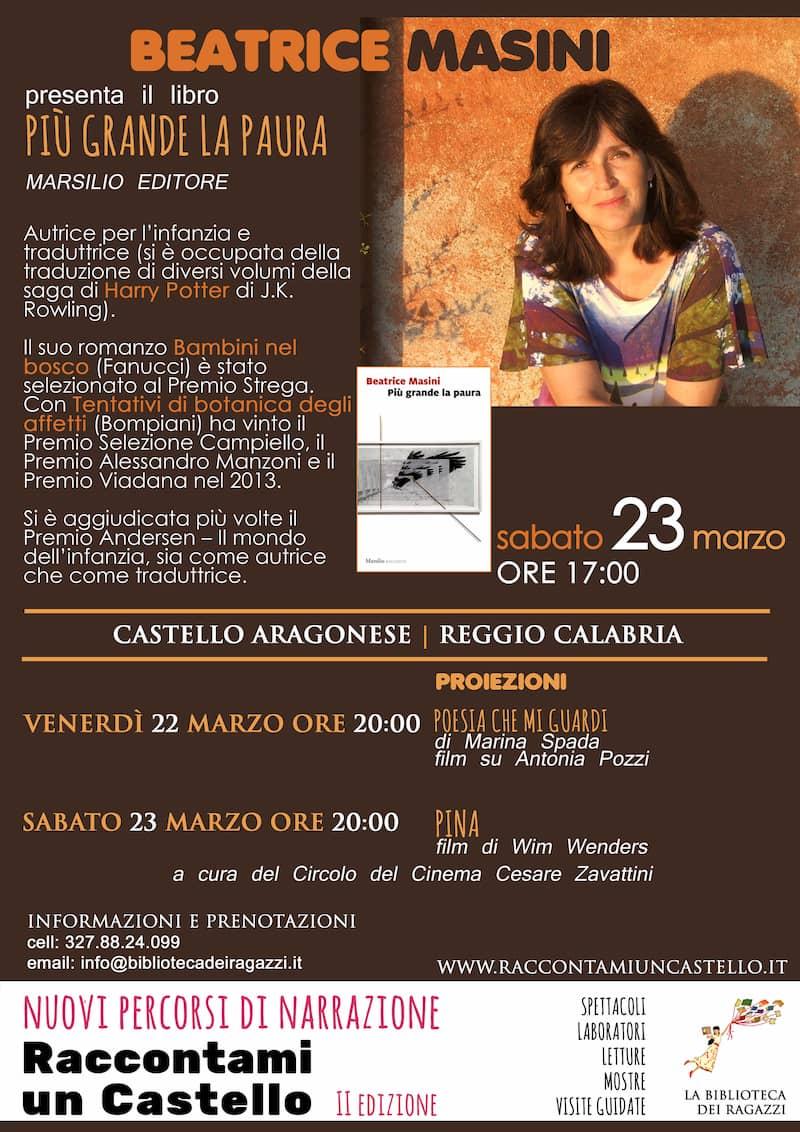 La scrittrice Beatrice Masini ospite d'eccellenza a Raccontami un Castello 23 marzo 2019 locandina