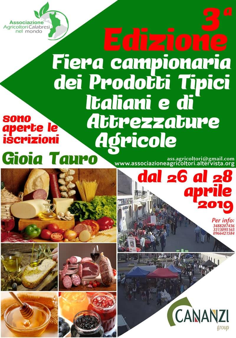 Terza edizione della Fiera campionaria dei prodotti tipici e attrezzature agricole dal 26 al 28 aprile 2019 a Gioia Tauro locandina