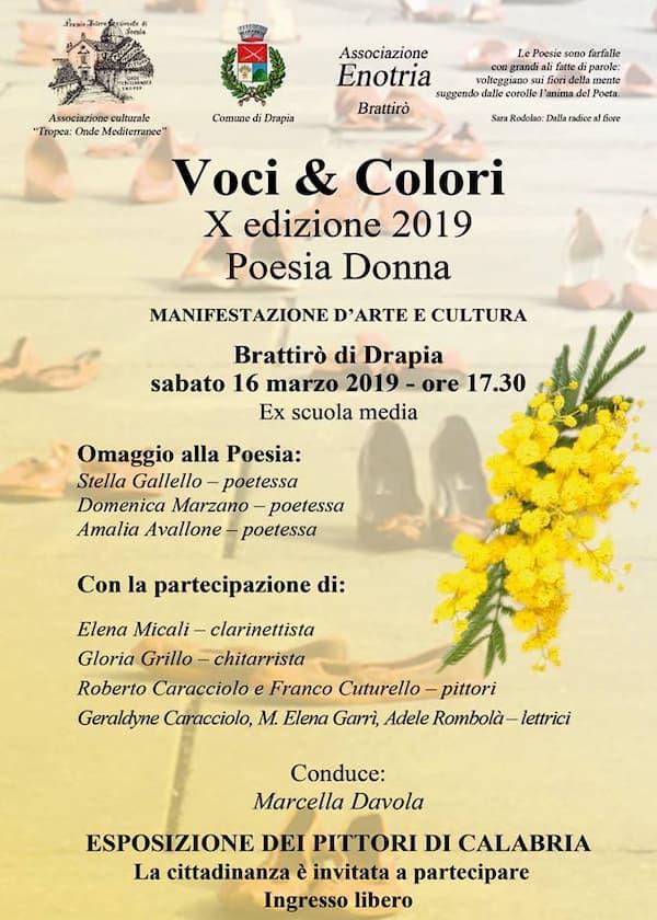 Voci & Colori – Poesia Donna 16 marzo 2019 a Brattirò di Drapia locandina