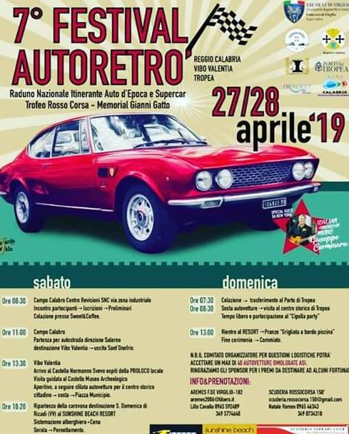 7° Festival Autoretro 27 - 28 Aprile 2019 a Reggio Calabria, Vibo Valentia, Tropea