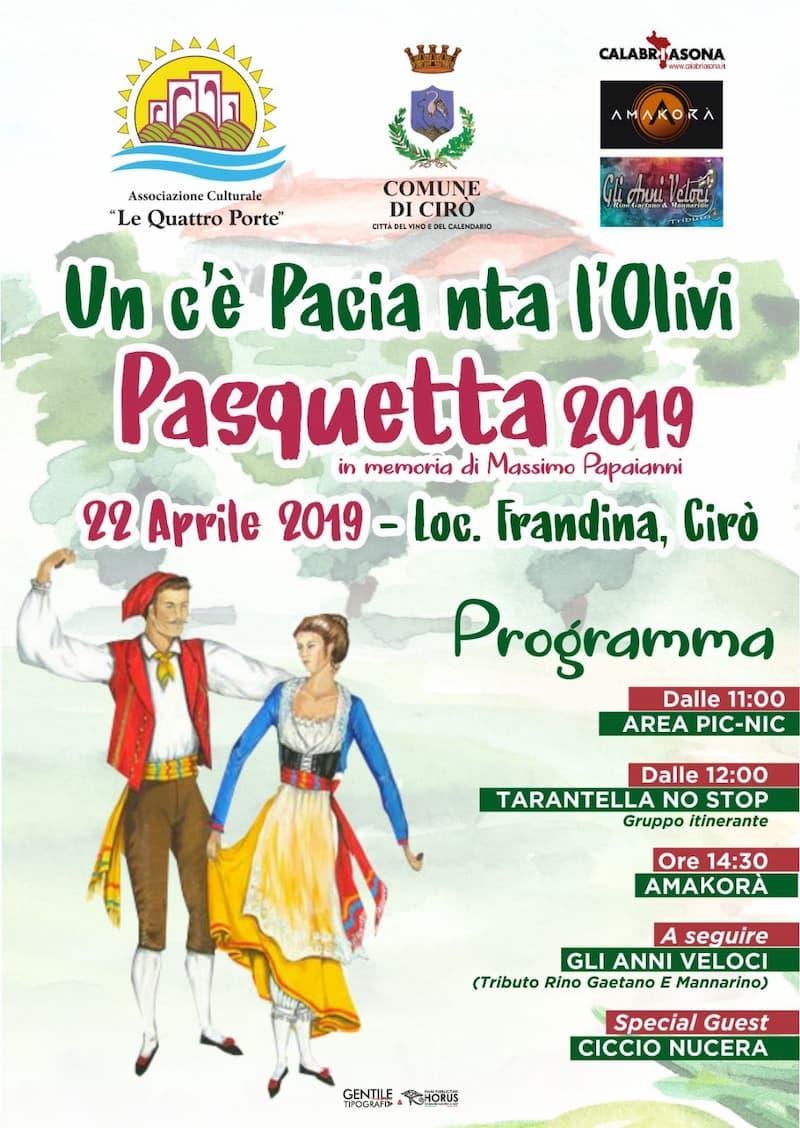 Un c'è pacia nta l'olivi Pasquetta 2019 a Cirò 22 aprile 2019
