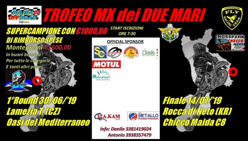 1° Trofeo MX dei Due Mari 30 giugno 2019 a Lamezia Terme