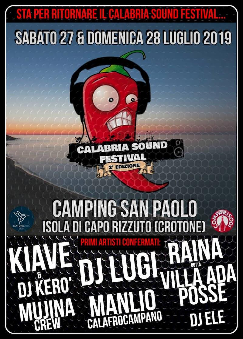 Calabria Sound Festival 2^ Edizione 27 e 28 Luglio 2019 a Isola Capo Rizzuto