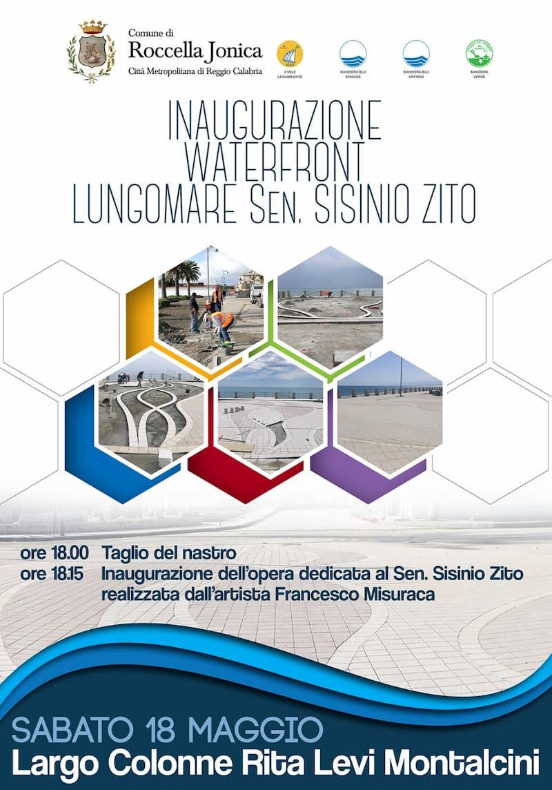 Inaugurazione waterfront Roccella e opera commemorativa sen. Zito 18 maggio 2019 locandina