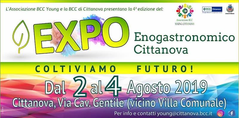 4° EXPO Enogastronomico Bcc Young dal 2 al 4 agosto 2019 a Cittanova