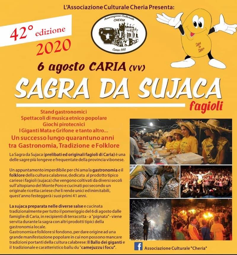 42 edizione Sagra da Sujaca Caria di Drapia 6 agosto 2020 locandina
