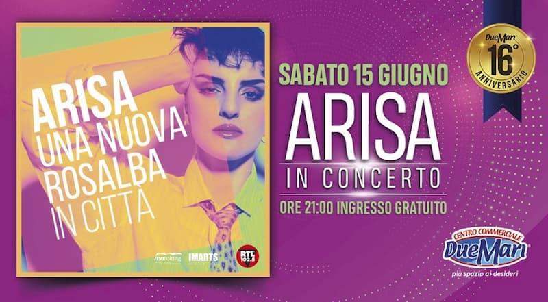 Arisa in concerto 15 giugno 2019 Due Mari a Maida