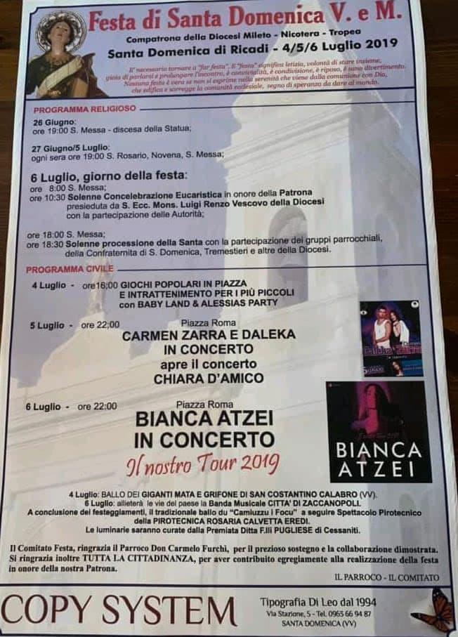 Bianca Atzei per la festa Santa Domenica di Ricadi luglio 2019 locandina