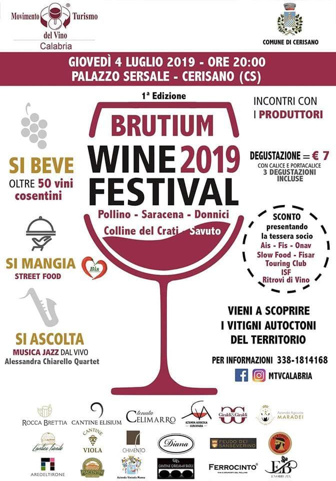 Brutium Wine Festival 2019 4 luglio 2019 a Cerisano locandina