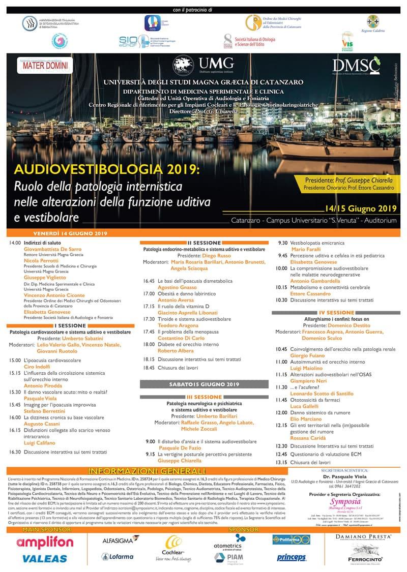 Convegno UMG la patologia dell'udito e dell'equilibrio 14 e 15 giugno 2019 a Catanzaro locandina