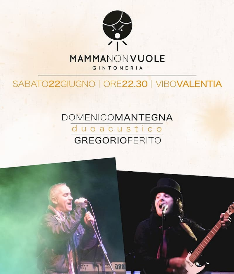 Duo acustico live al Mamma Non Vuole 22 giugno 2019 a Vibo Valentia locandina