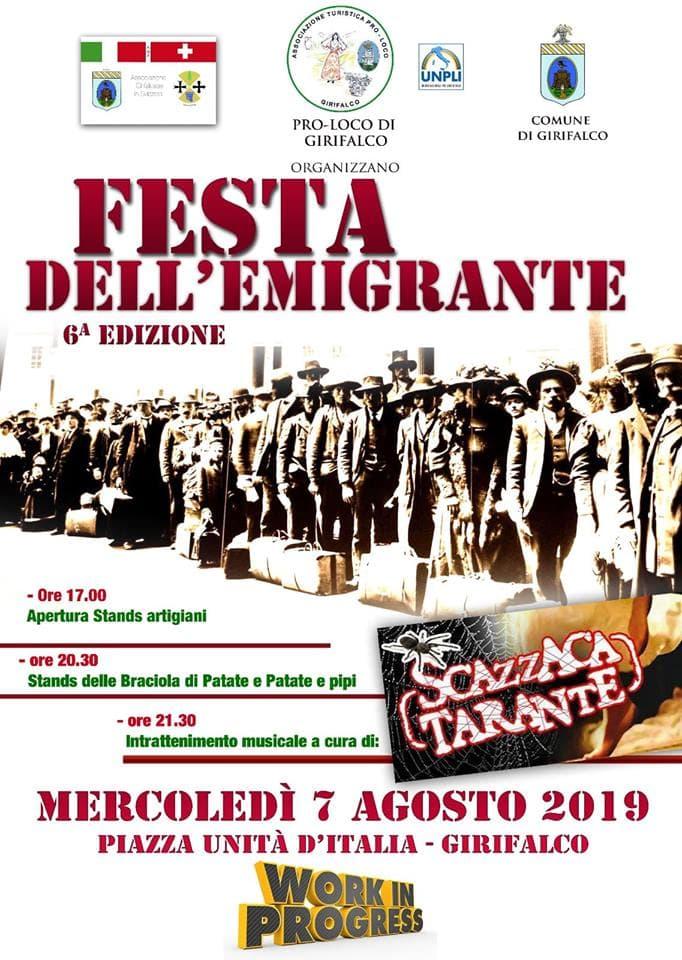 Festa Emigrante 6°edizione 7 agosto 2019 a Girifalco locandina