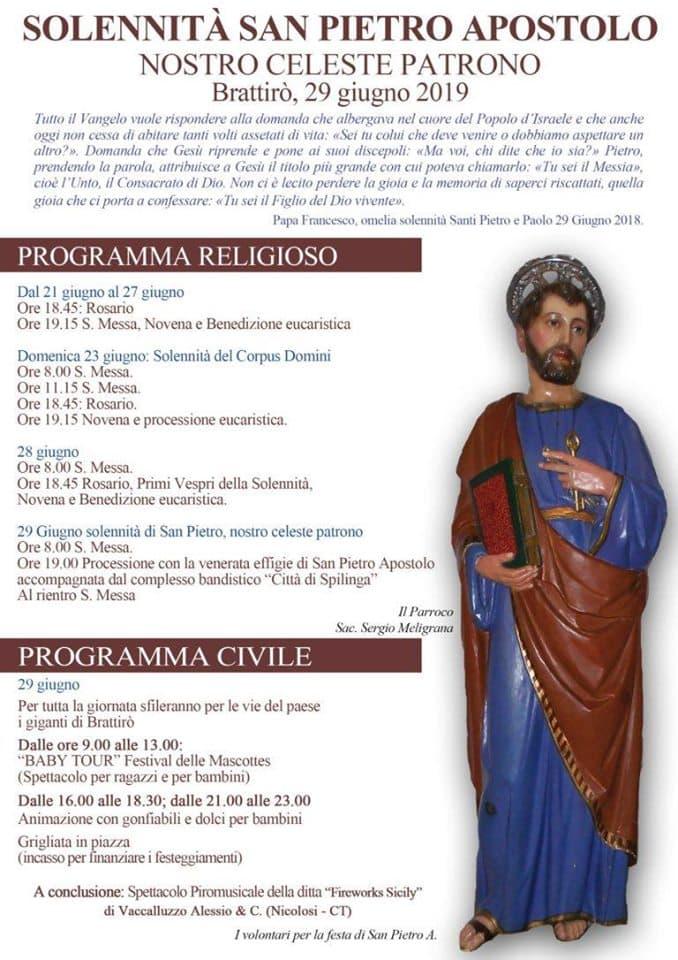 Festa San Pietro 29 giugno 2019 a Brattirò di Drapia locandina