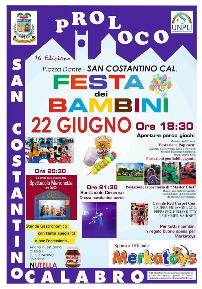 Festa dei bambini 22 giugno 2019 a San Costantino Calabro locandina