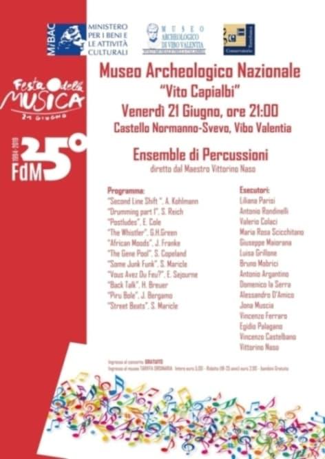 Festa della Musica a Vibo Valentia 21 giugno 2019 al Castello Normanno Svevo di Vibo Valentia locandina