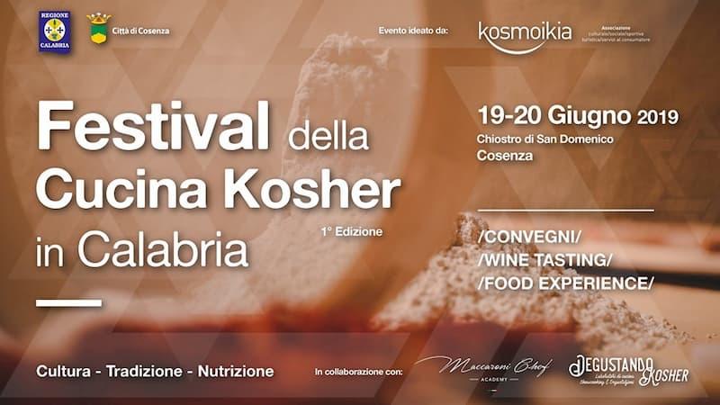 Festival della Cucina Kosher in Calabria 19 e 20 giugno 2019 a Cosenza