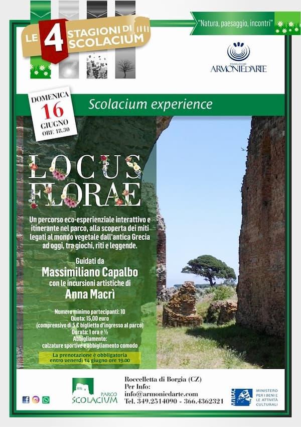 Locus Florae Scolacium Experience 16 giugno 2019 aRoccelletta di Borgia locandina
