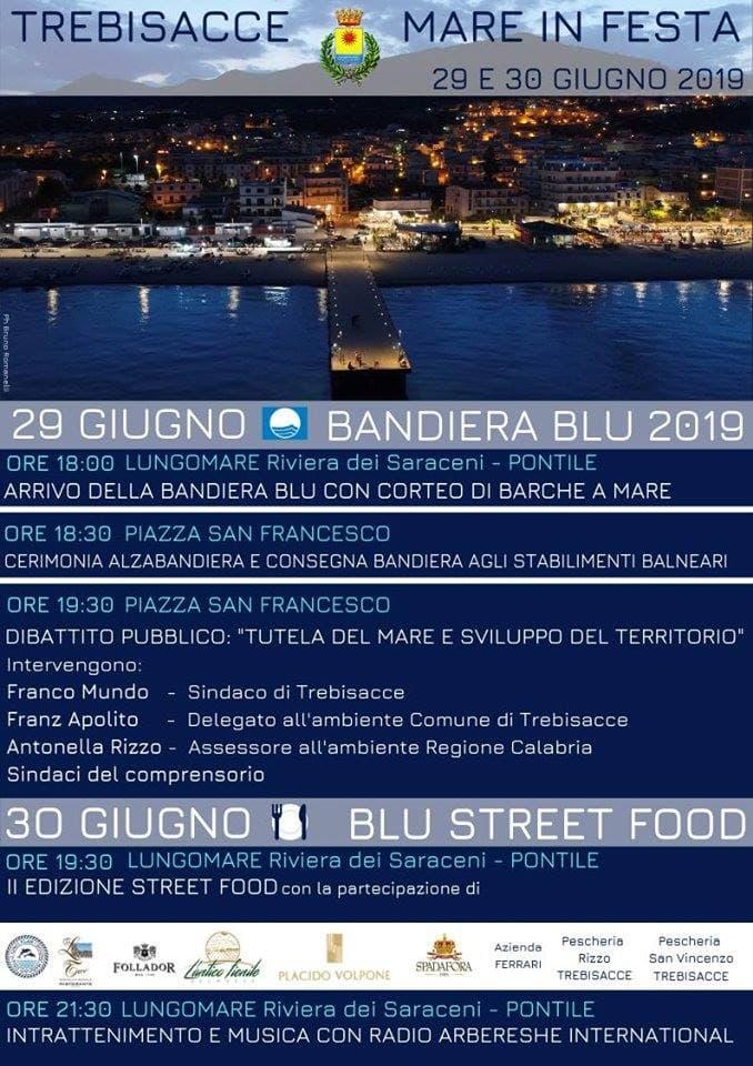 Mare in Festa Trebisacce celebra la Bandiera Blu 29 e 30 Giugno 2019 locandina