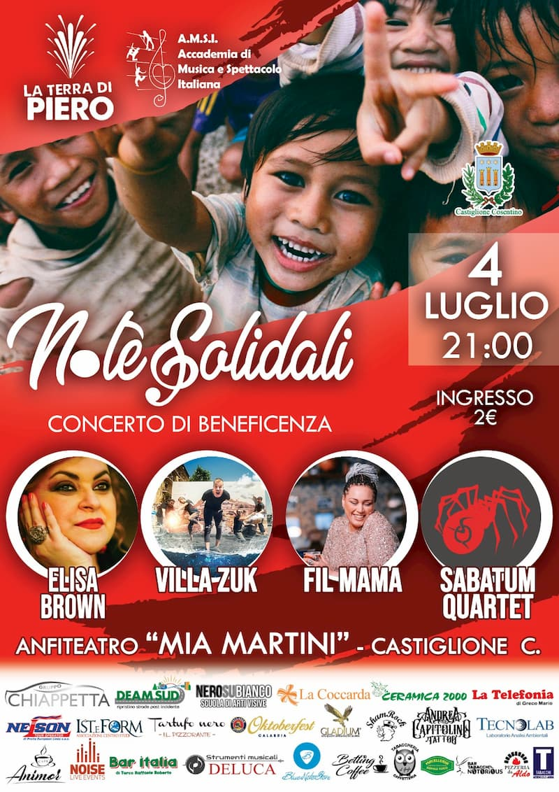 Note Solidali concerto di beneficienza 4 luglio 2019 Castiglione Cosentino