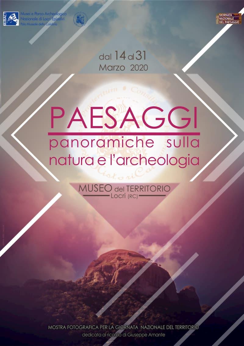 Palazzo Nieddu del Rio Paesaggi panoramiche sulla natura e sull'archeologia Dal 14 al 31 marzo 2020 a Locri locandina