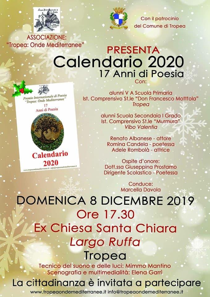Presentazione Calendario 2020 17 anni di Poesia 8 dicembre 2019 a Tropea locandina