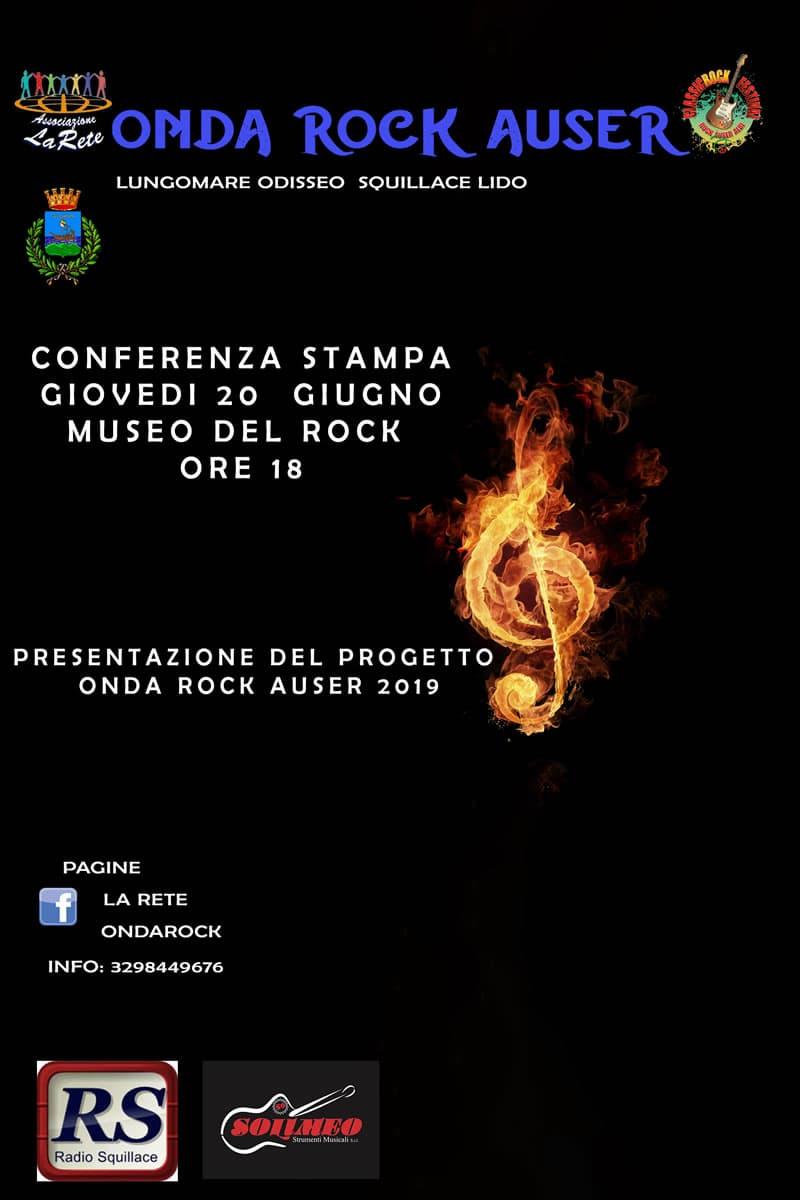 Presentazione della manifestazione Onda Rock Auser 2019 il 20 Giugno 2019 a Catanzaro locandina