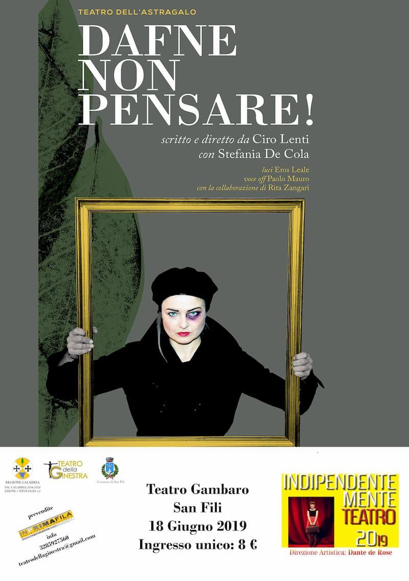 Stefania De Cola Festival Indipendentemente Teatro, a San Fili 18 giugno 2019 locandina