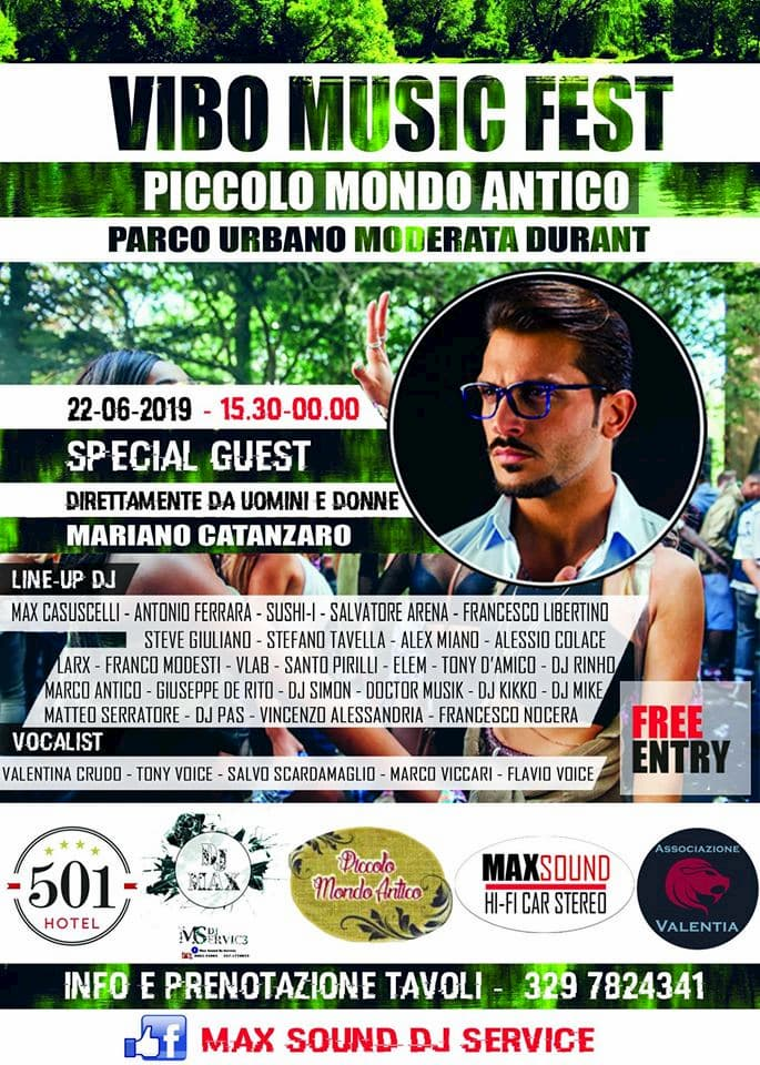 Vibo Music Fest - 22 Giugno 2019 - Parco urbano Moderata Durant Vibo Valentia locandina