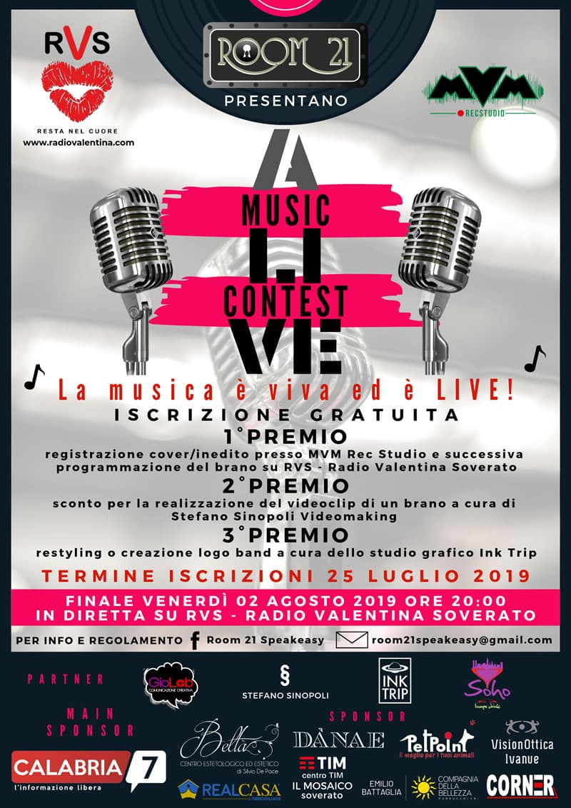 Alive Music Contest 2019 organizzato dal Room 21 Speakeasy di Soverato locandina