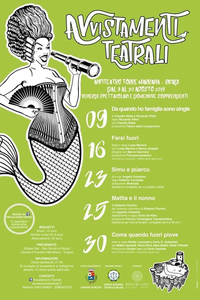 Avvistamenti Teatrali dal 9 al 30 Agosto 2019 a Torre Marrana, Ricadi locandina