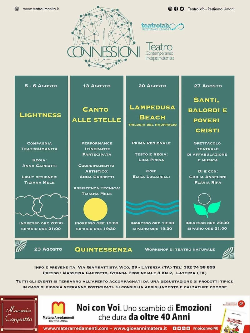 Connessioni Teatro Contemporaneo Indipendente 2019 a Laterza locandina