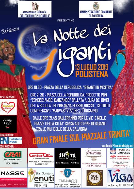 La Notte dei Giganti 2019 13° edizione a Polistena 13 Luglio 2019